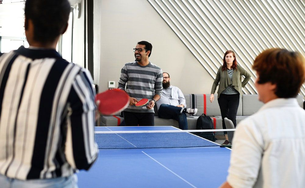 table tennis table at office