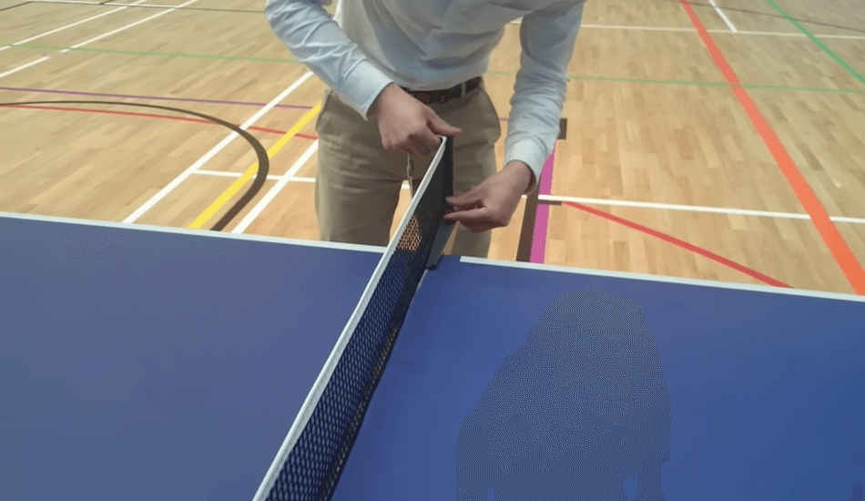 Set up ping pong table net